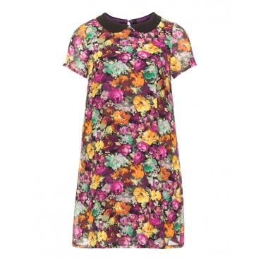 Floralmuster-Kleid mit Bubikragen