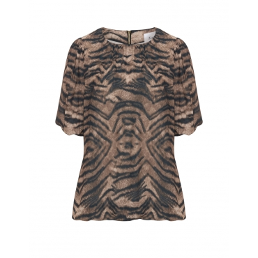 Georgette-Shirt mit Animal-Print