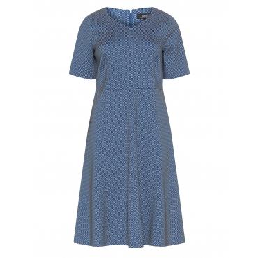 Gepunktetes Jacquard-Kleid mit A-Rock