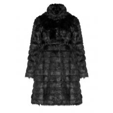 Gestreift strukturierter Fake Fur-Mantel