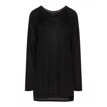 Glänzender High-Low-Pullover