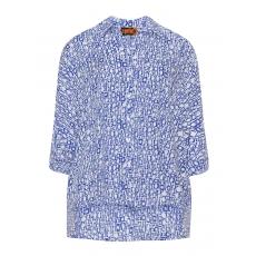 Hemdbluse mit High-Low-Saum und Print