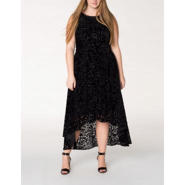 High-Low-Kleid mit Samtmuster