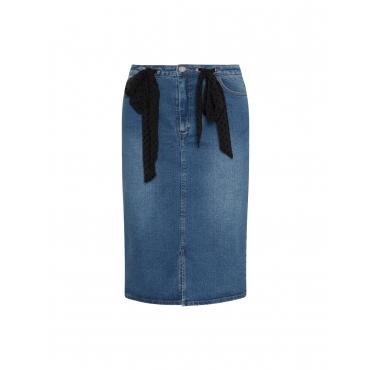 Jeans-Bleistiftrock mit Chiffonschleifen