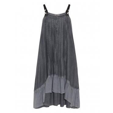 Jeanskleid mit Trägern und Rüschensaum