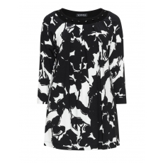 Jersey-Longshirt mit Print und Steinen