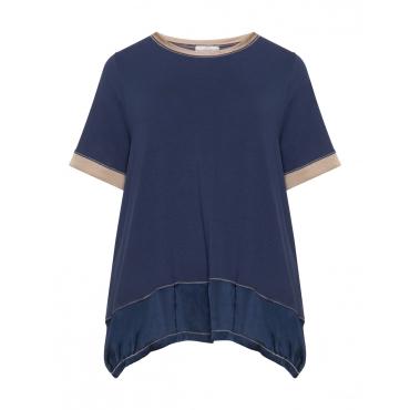 Jersey-T-Shirt mit Satineinsätzen