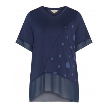 Jerseyshirt mit Punkten und Chiffonsaum