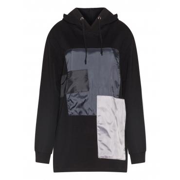 Kapuzen-Sweatshirt mit Patchwork-Motiv