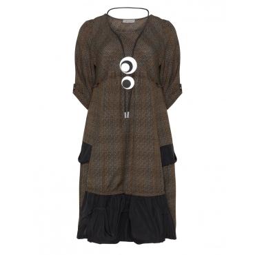 Kariertes A-Linien-Kleid mit Kette