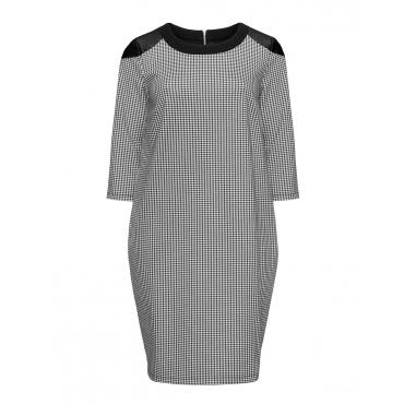 Kariertes Kleid mit Lederimitat-Details