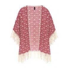 Kimono mit Fransen und Spitzenborte
