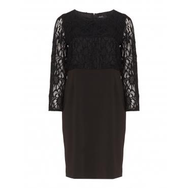 Kleid aus Crêpe-Jersey und Spitze
