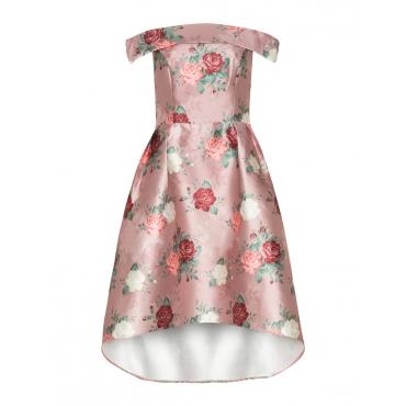 Kleid mit Blumen-Print und High-Low-Saum