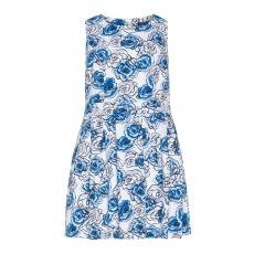 Kleid mit Rosen-Print und Faltenrock