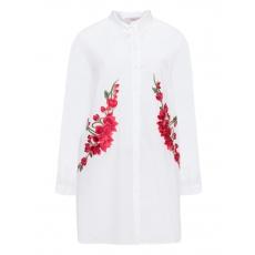 Lange Hemdbluse mit Blumenstickerei