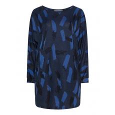 Langer Pullover mit Allover-Print