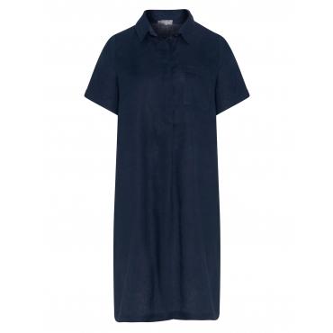 Leinen-Hemdblusenkleid mit Brusttasche