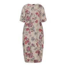 Leinen-Sommerkleid mit Print und Taschen