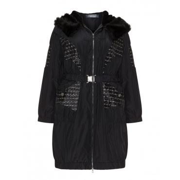 Mantel mit Kapuze und Teddyfell