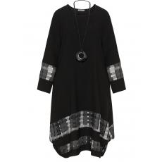 Materialmix-A-Linien-Kleid mit Kette