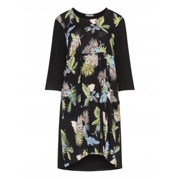 Materialmix-Kleid mit Blätter-Print