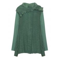 Materialmix-Leinen-Jacke mit Taschen