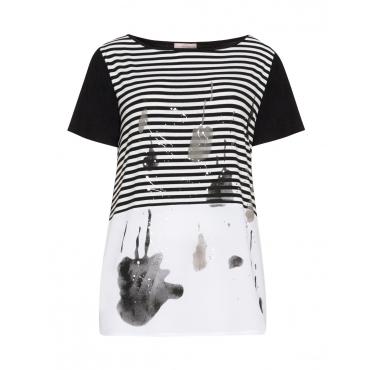 Materialmix-Shirt mit Farbakzenten