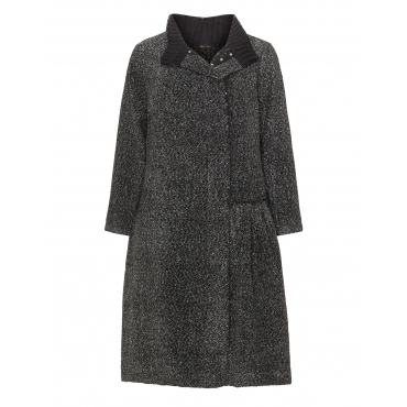 Melierter Mantel mit Klappkragen