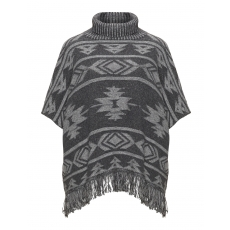 Merino-Wollmix-Poncho mit Ethno-Muster