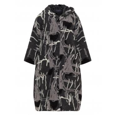 Muster-Filzmantel mit Kapuze und Taschen