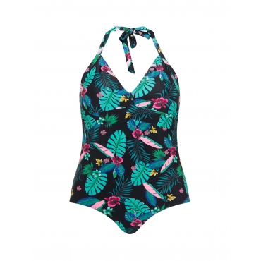 Neckholder-Badeanzug mit Tropic-Print
