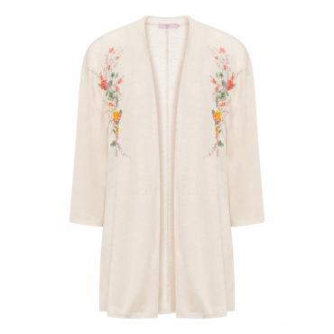 Offene Jacke mit floraler Stickerei