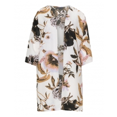 Offener Crêpe-Kimono mit Floral-Print