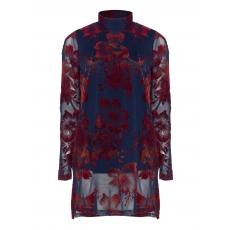 Rollkragen-Longshirt mit Flock-Print