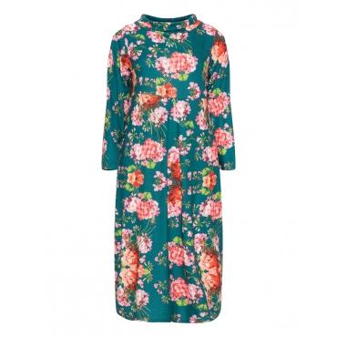 Samtiges Kleid mit Allover-Blumen-Print