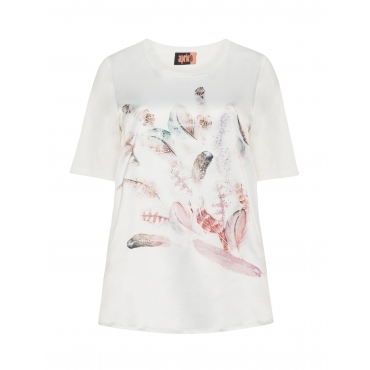 Satin-T-Shirt mit Print und Steinchen