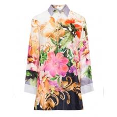 Seiden-Mix-Bluse mit floralem Print