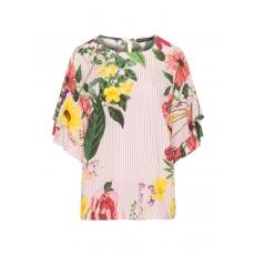 Seidige Streifen-Bluse mit Blumen-Print