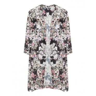 Seidiger Kimono mit Allover-Blumen-Print