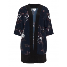 Seidiger Kimono mit Blumen-Print