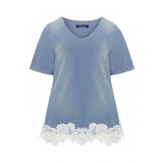 Shirt im Used-Look mit Spitze am Saum