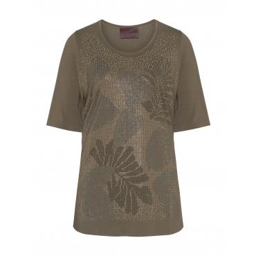 Shirt mit Blattmotiv aus Dekosteinen
