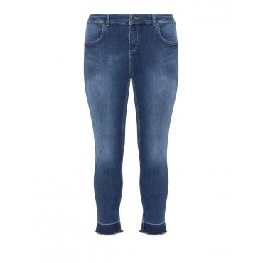 Slim Fit Jeans mit Fransen