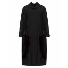 Stoffmix-Kleid mit Samteinsätzen