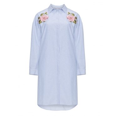 Streifen-Hemdblusenkleid mit Stickereien