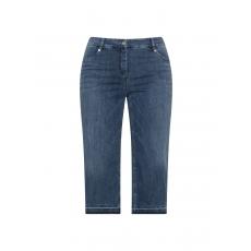 Stretch-Capri-Jeans mit fransigem Saum