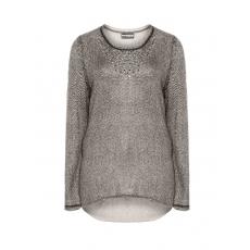 Strick-Pullover mit Print und Pailletten