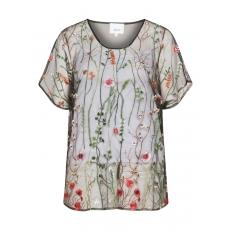 Transparente Bluse mit Blumenstickerei