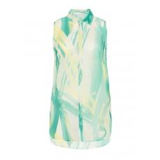 Transparente Chiffon-Longbluse mit Print
